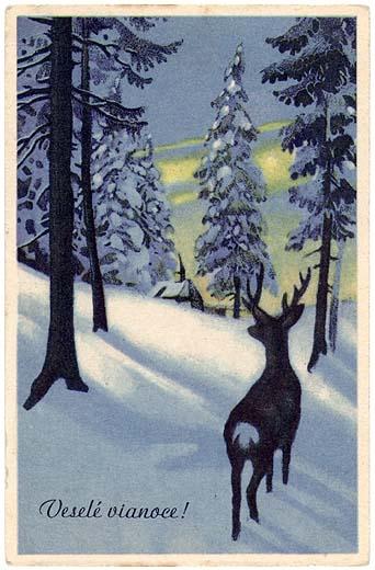Mountain Christmas Cards.Historical Slovak Christmas Cards Mountain Deer